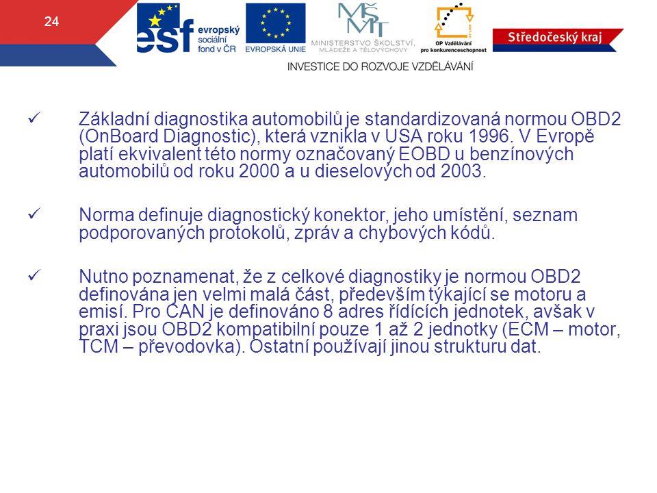 24 Základní diagnostika automobilů je standardizovaná normou OBD2 (OnBoard Diagnostic), která vznikla v USA roku 1996. V Evropě platí ekvivalent této