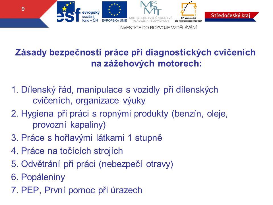 9 Zásady bezpečnosti práce při diagnostických cvičeních na zážehových motorech: 1. Dílenský řád, manipulace s vozidly při dílenských cvičeních, organi