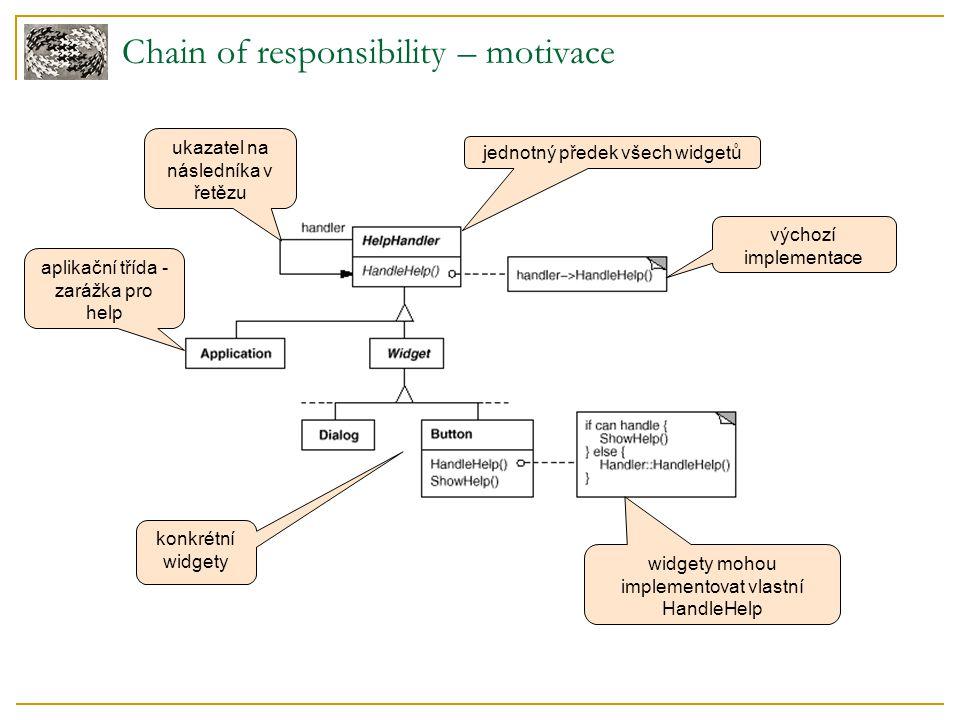 Struktura Účastníci  Handler ( HandleHelp ) definuje rozhraní pro zpracování požadavků volitelně implementuje ukazatel na následníka  ConcreteHandler ( PrintButton, PrintDialog ) zachytává požadavek, který umí zpracovat může přistupovat na svého následníka  Client iniciuje požadavek předáním na objekt ConcreteHandler zapojený do řetězu Chain of responsibility – struktura