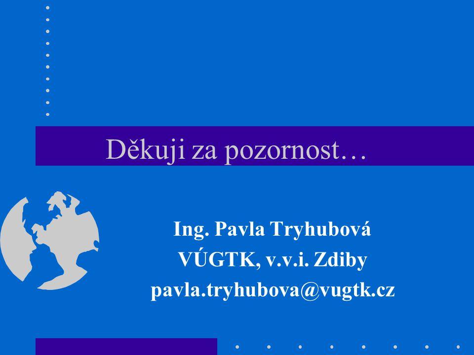 Děkuji za pozornost… Ing. Pavla Tryhubová VÚGTK, v.v.i. Zdiby pavla.tryhubova@vugtk.cz