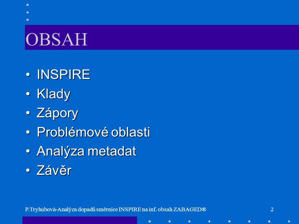 P.Tryhubová-Analýza dopadů směrnice INSPIRE na inf. obsah ZABAGED®2 OBSAH INSPIREINSPIRE KladyKlady ZáporyZápory Problémové oblastiProblémové oblasti