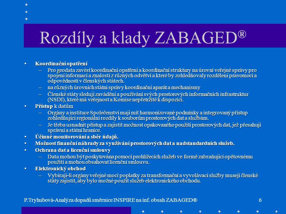 P.Tryhubová-Analýza dopadů směrnice INSPIRE na inf. obsah ZABAGED®6 Rozdíly a klady ZABAGED ® Koordinační opatřeníKoordinační opatření –Pro geodata za