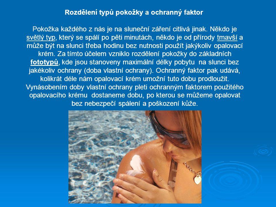 Rozdělení typů pokožky a ochranný faktor Pokožka každého z nás je na sluneční záření citlivá jinak. Někdo je světlý typ, který se spálí po pěti minutá