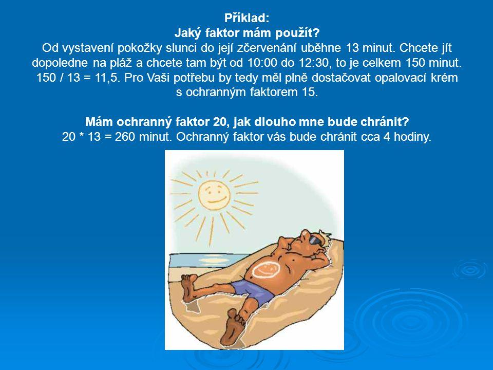 Příklad: Jaký faktor mám použít? Od vystavení pokožky slunci do její zčervenání uběhne 13 minut. Chcete jít dopoledne na pláž a chcete tam být od 10:0
