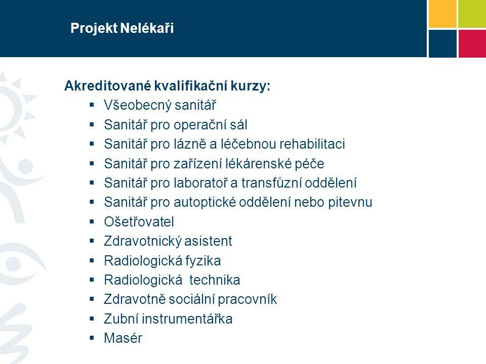 Projekt Nelékaři Akreditované kvalifikační kurzy:  Všeobecný sanitář  Sanitář pro operační sál  Sanitář pro lázně a léčebnou rehabilitaci  Sanitář