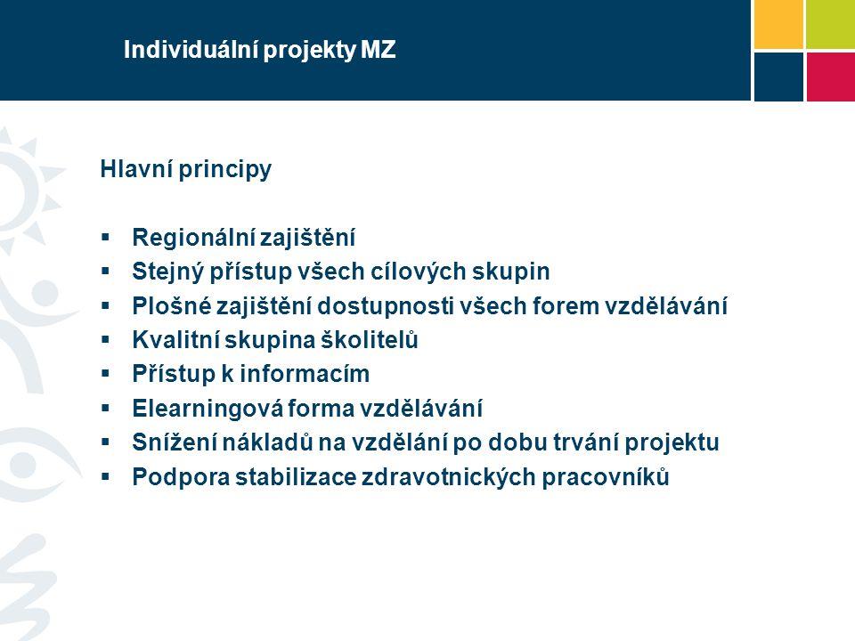 Individuální projekty MZ Hlavní principy  Regionální zajištění  Stejný přístup všech cílových skupin  Plošné zajištění dostupnosti všech forem vzdě