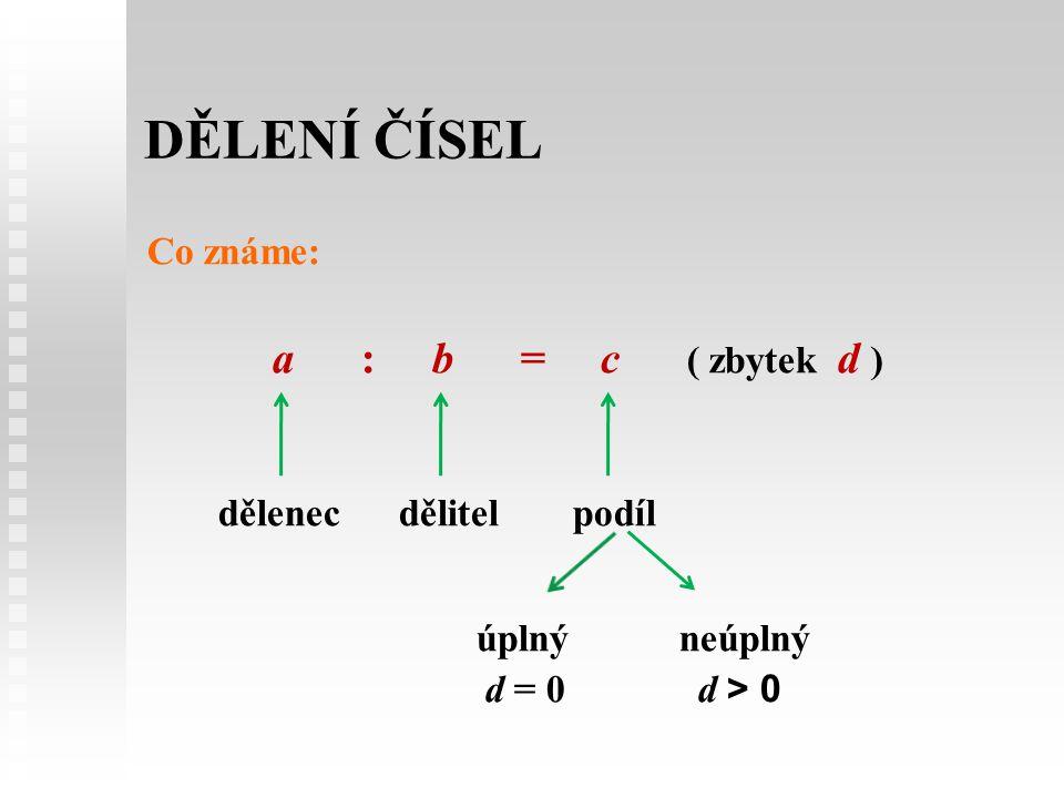 DĚLENÍ ČÍSEL Co známe: a : b = c ( zbytek d ) dělenec dělitelpodíl úplnýneúplný d = 0 d > 0