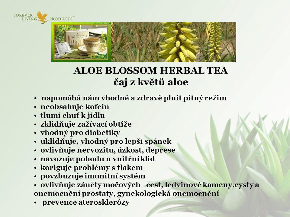 ALOE BLOSSOM HERBAL TEA čaj z květů aloe napomáhá nám vhodně a zdravě plnit pitný režim neobsahuje kofein tlumí chuť k jídlu zklidňuje zažívací obtíže