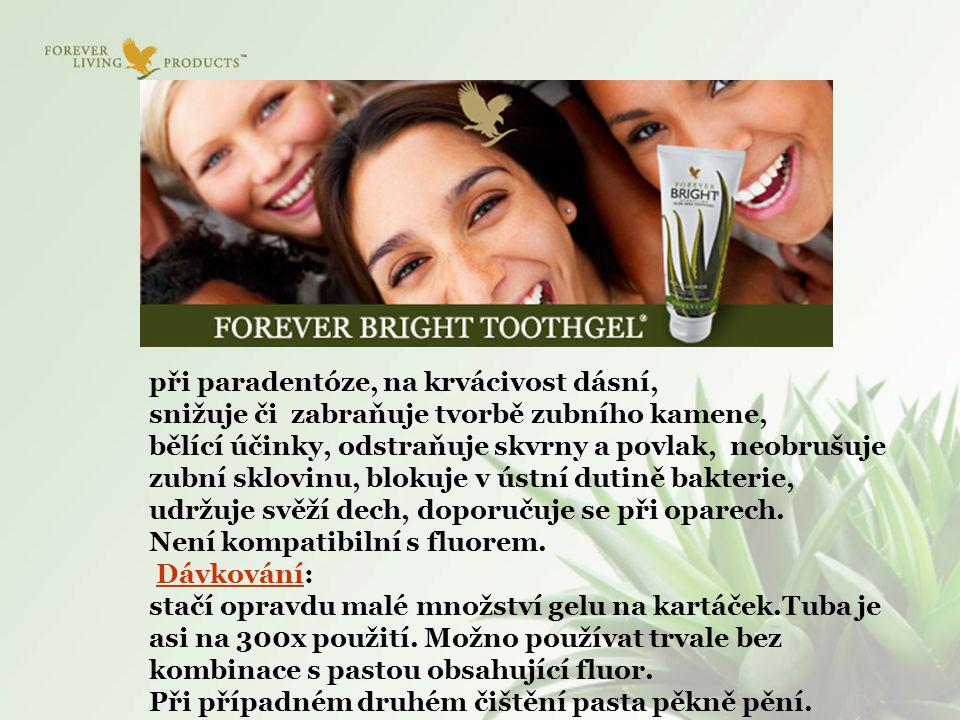 při paradentóze, na krvácivost dásní, snižuje či zabraňuje tvorbě zubního kamene, bělící účinky, odstraňuje skvrny a povlak, neobrušuje zubní sklovinu