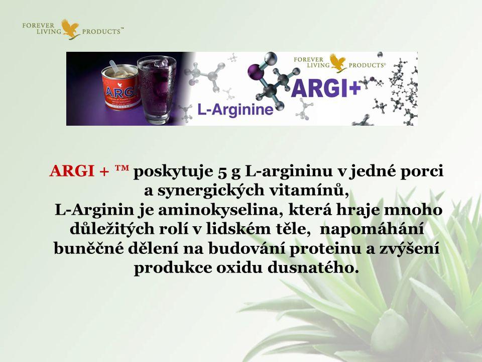 ARGI + ™ poskytuje 5 g L-argininu v jedné porci a synergických vitamínů, L-Arginin je aminokyselina, která hraje mnoho důležitých rolí v lidském těle,