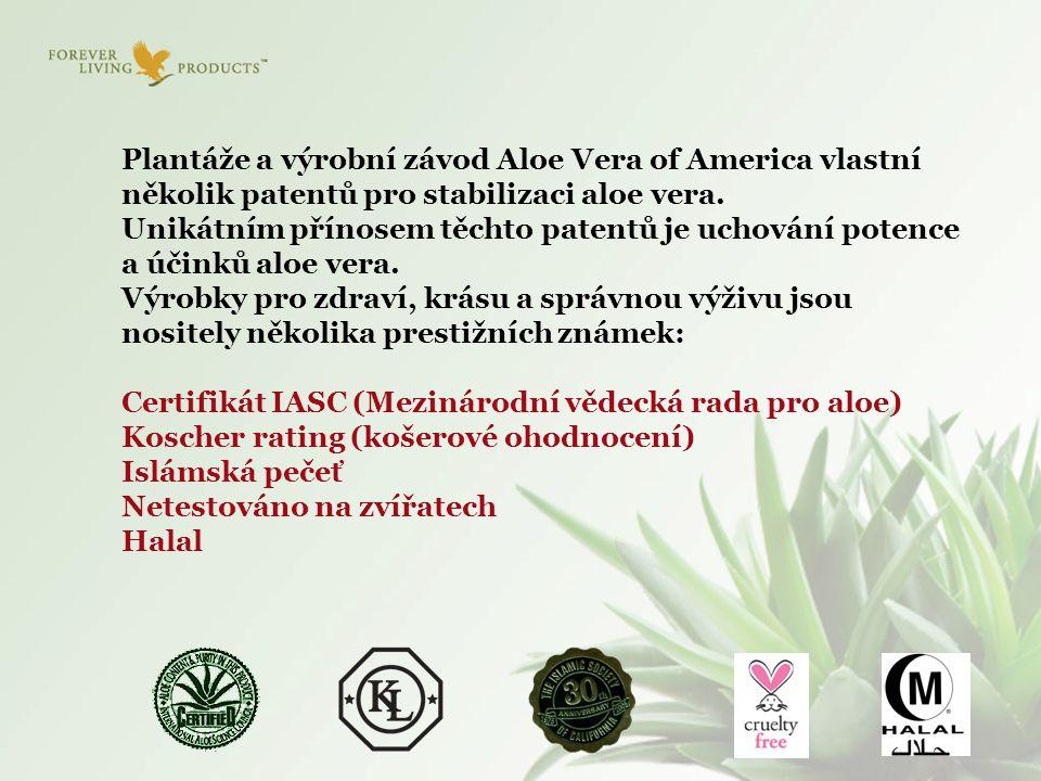 Plantáže a výrobní závod Aloe Vera of America vlastní několik patentů pro stabilizaci aloe vera. Unikátním přínosem těchto patentů je uchování potence