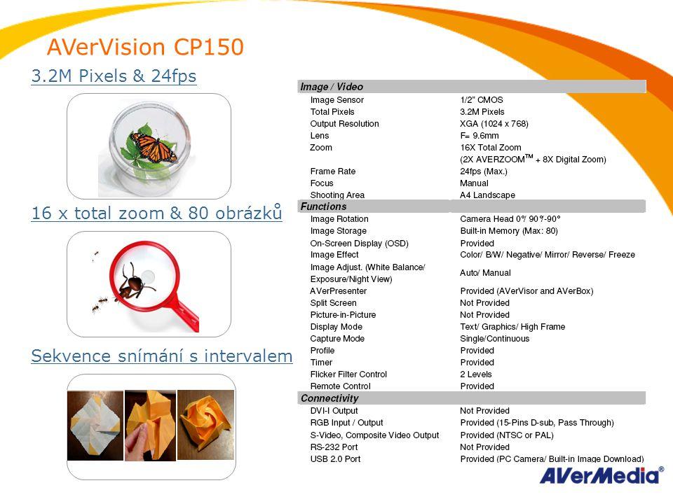 AVerVision CP150 3.2M Pixels & 24fps 16 x total zoom & 80 obrázků Sekvence snímání s intervalem