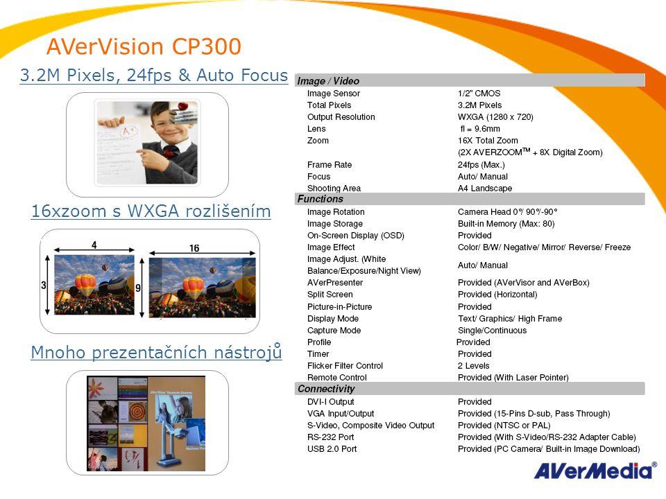 AVerVision CP300 16xzoom s WXGA rozlišením Mnoho prezentačních nástrojů 3.2M Pixels, 24fps & Auto Focus