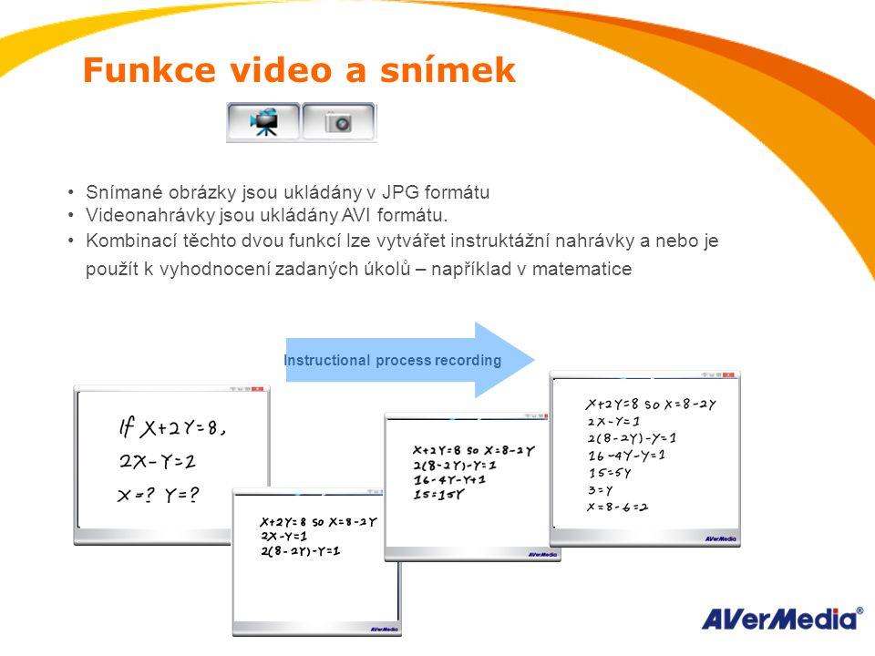 Funkce video a snímek Snímané obrázky jsou ukládány v JPG formátu Videonahrávky jsou ukládány AVI formátu.