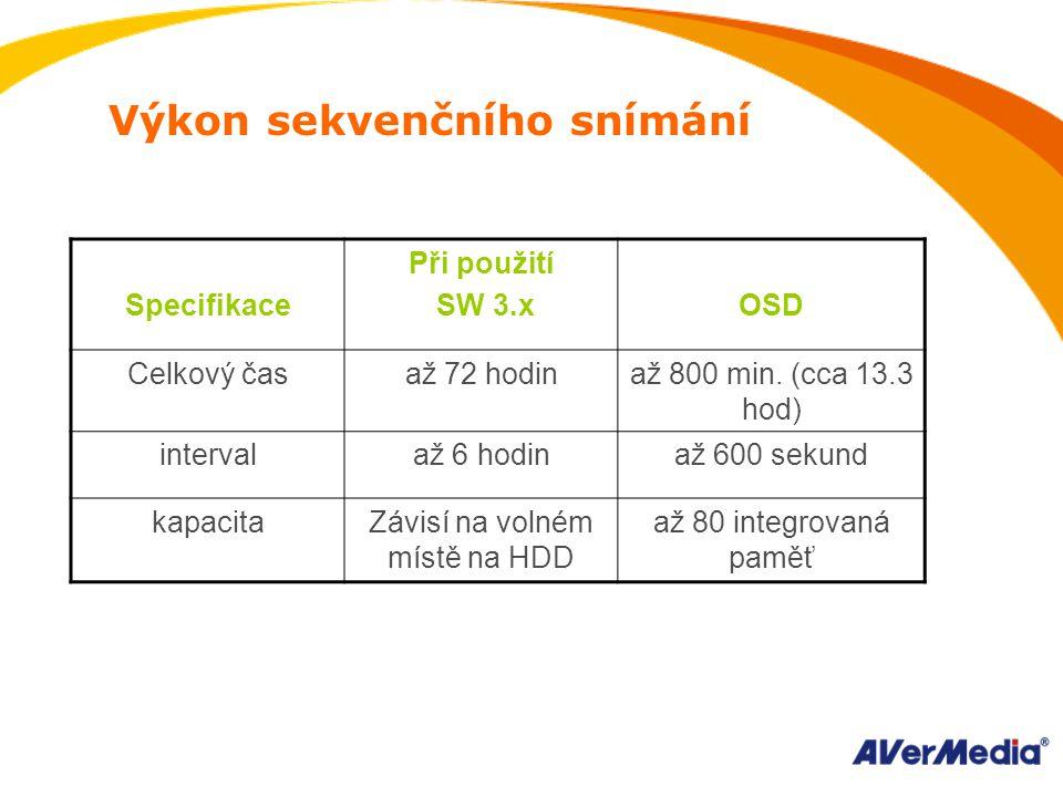 Výkon sekvenčního snímání Specifikace Při použití SW 3.x OSD Celkový časaž 72 hodinaž 800 min.