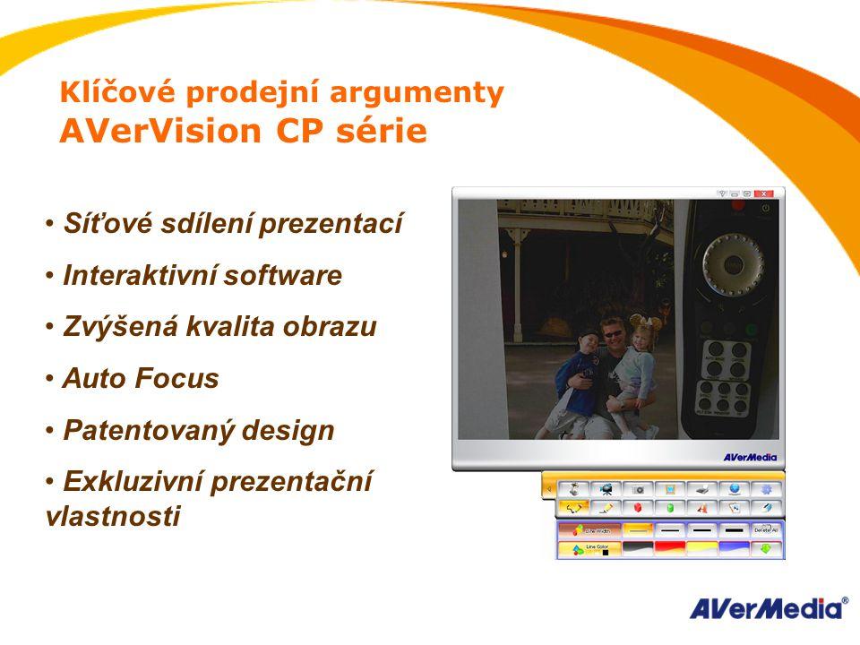 Klíčové prodejní argumenty AVerVision CP série Síťové sdílení prezentací Interaktivní software Zvýšená kvalita obrazu Auto Focus Patentovaný design Exkluzivní prezentační vlastnosti