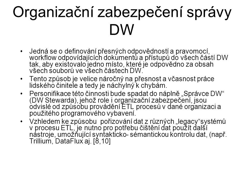Jedná se o definování přesných odpovědností a pravomocí, workflow odpovídajících dokumentů a přístupů do všech částí DW tak, aby existovalo jedno míst