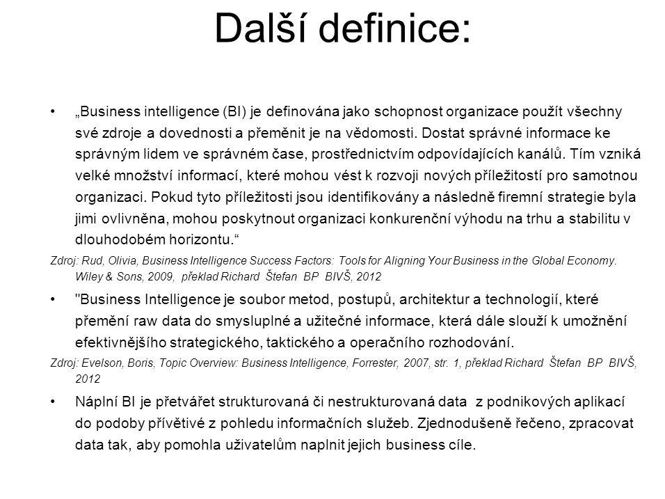 """Další definice: """"Business intelligence (BI) je definována jako schopnost organizace použít všechny své zdroje a dovednosti a přeměnit je na vědomosti."""