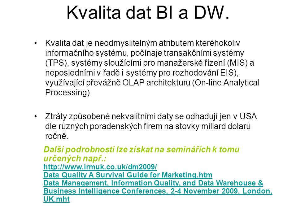 Kvalita dat BI a DW. Kvalita dat je neodmyslitelným atributem kteréhokoliv informačního systému, počínaje transakčními systémy (TPS), systémy sloužící
