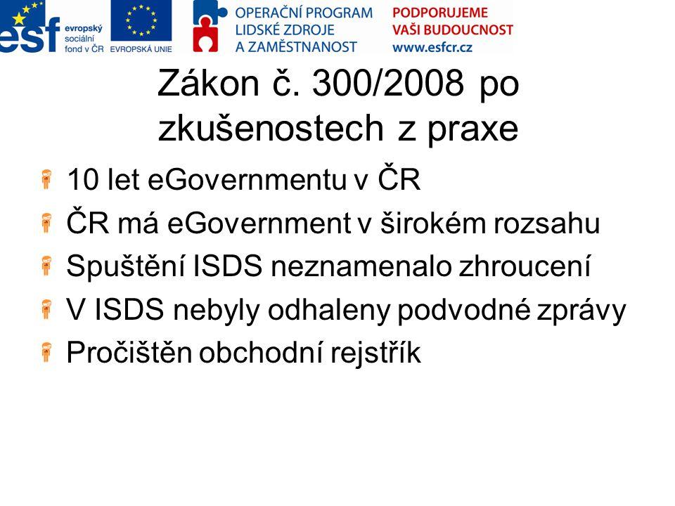 Zákon č. 300/2008 po zkušenostech z praxe 10 let eGovernmentu v ČR ČR má eGovernment v širokém rozsahu Spuštění ISDS neznamenalo zhroucení V ISDS neby