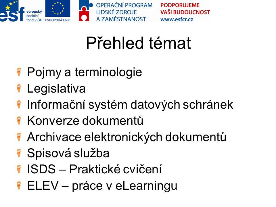 Přehled témat Pojmy a terminologie Legislativa Informační systém datových schránek Konverze dokumentů Archivace elektronických dokumentů Spisová služb