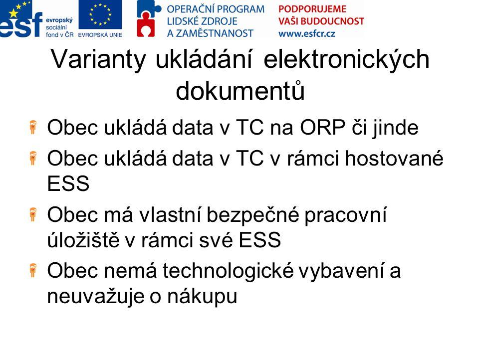 Varianty ukládání elektronických dokumentů Obec ukládá data v TC na ORP či jinde Obec ukládá data v TC v rámci hostované ESS Obec má vlastní bezpečné