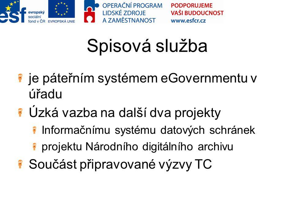 Spisová služba je páteřním systémem eGovernmentu v úřadu Úzká vazba na další dva projekty Informačnímu systému datových schránek projektu Národního di