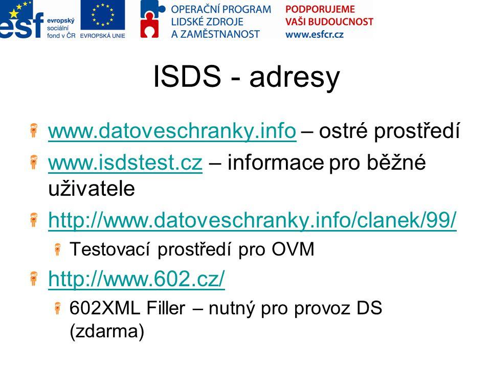 ISDS - adresy www.datoveschranky.infowww.datoveschranky.info – ostré prostředí www.isdstest.czwww.isdstest.cz – informace pro běžné uživatele http://w
