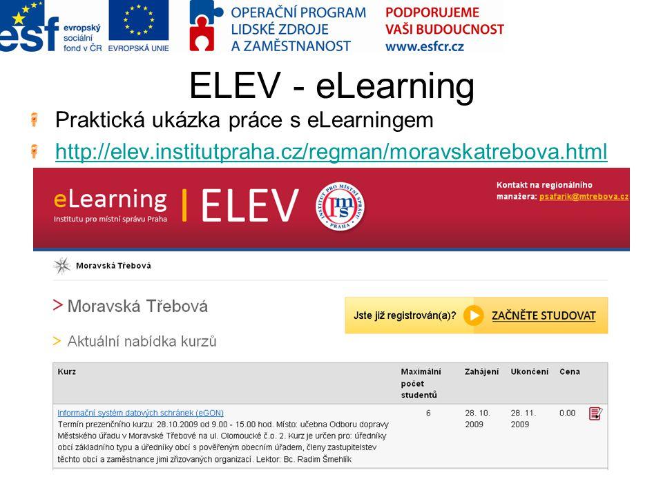ELEV - eLearning Praktická ukázka práce s eLearningem http://elev.institutpraha.cz/regman/moravskatrebova.html