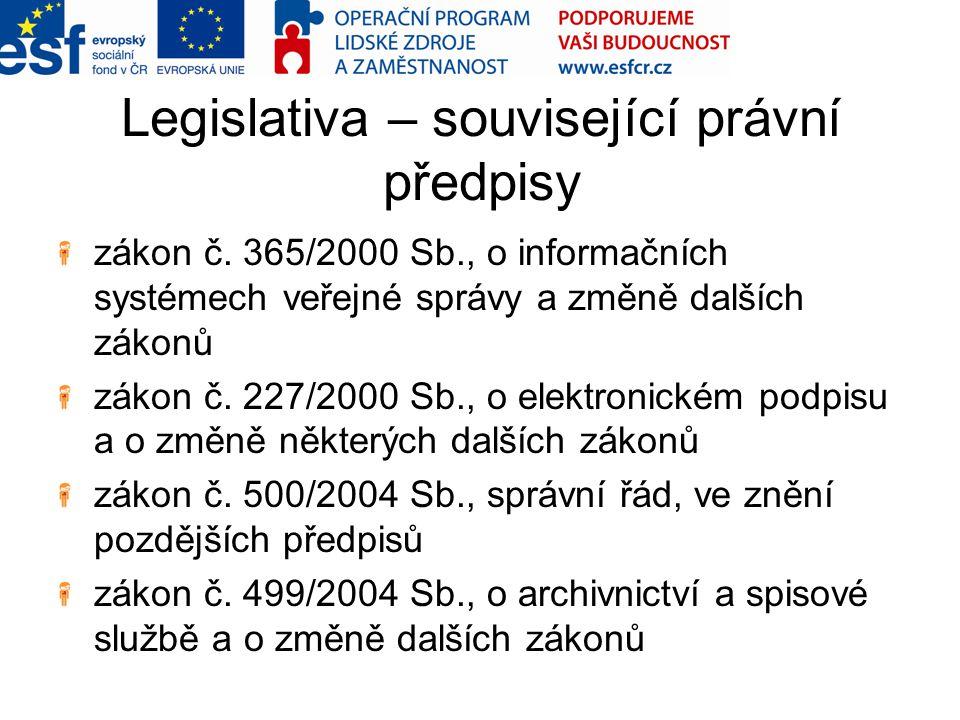 Legislativa – související právní předpisy zákon č. 365/2000 Sb., o informačních systémech veřejné správy a změně dalších zákonů zákon č. 227/2000 Sb.,