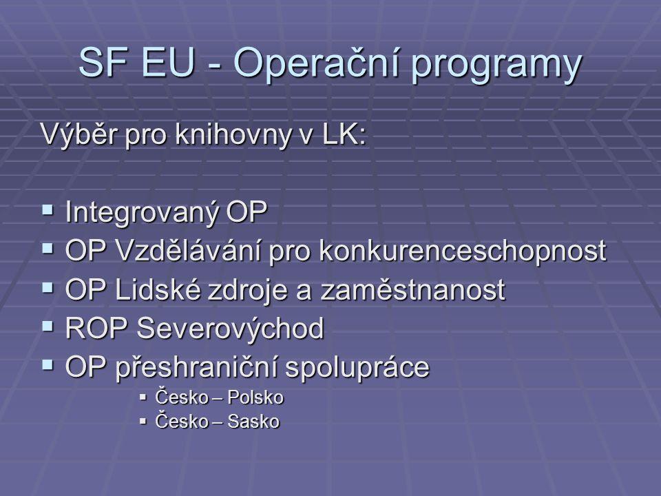 SF EU - Operační programy Výběr pro knihovny v LK:  Integrovaný OP  OP Vzdělávání pro konkurenceschopnost  OP Lidské zdroje a zaměstnanost  ROP Se