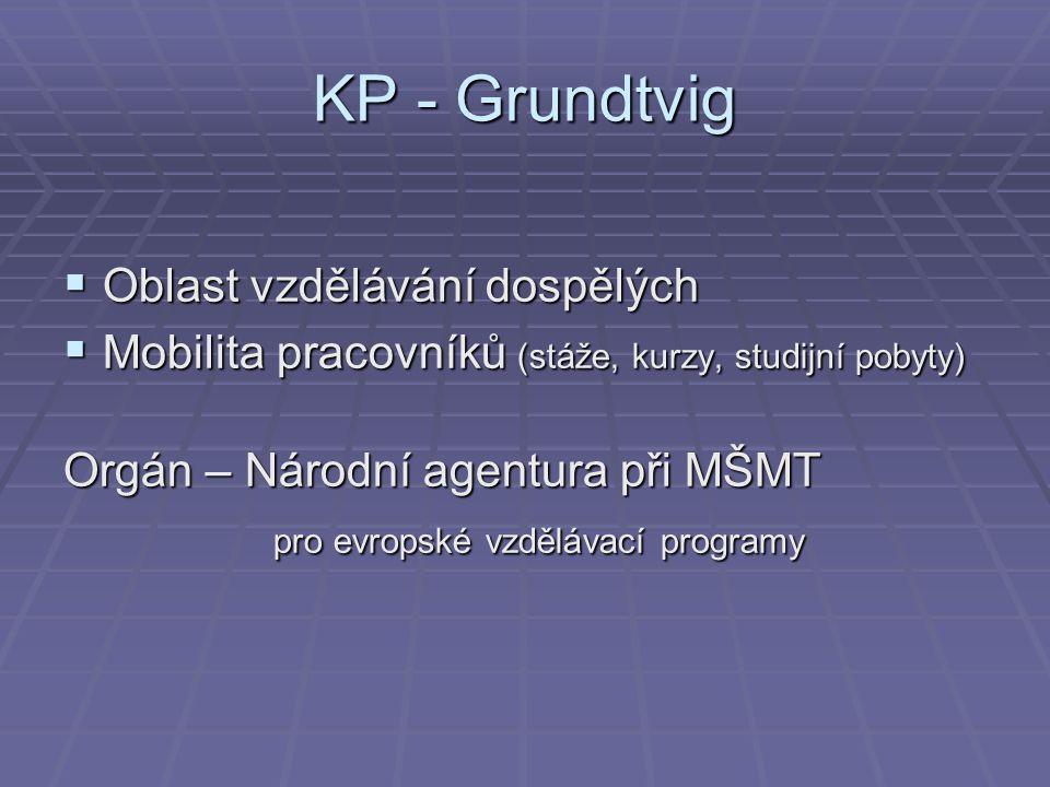 KP - Grundtvig  Oblast vzdělávání dospělých  Mobilita pracovníků (stáže, kurzy, studijní pobyty) Orgán – Národní agentura při MŠMT pro evropské vzdě