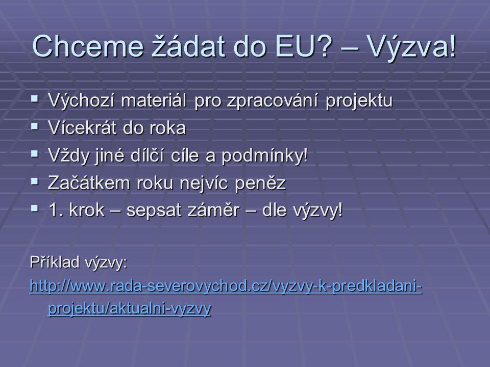 Chceme žádat do EU? – Výzva!  Výchozí materiál pro zpracování projektu  Vícekrát do roka  Vždy jiné dílčí cíle a podmínky!  Začátkem roku nejvíc p