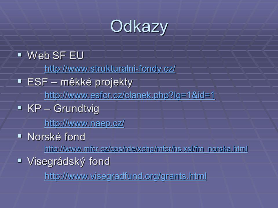 Odkazy  Web SF EU http://www.strukturalni-fondy.cz/  ESF – měkké projekty http://www.esfcr.cz/clanek.php?lg=1&id=1  KP – Grundtvig http://www.naep.