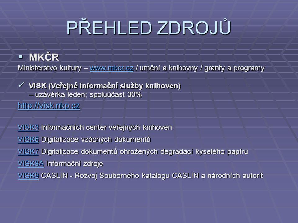 PŘEHLED ZDROJŮ  MKČR Ministerstvo kultury – www.mkcr.cz / umění a knihovny / granty a programy www.mkcr.cz VISK (Veřejné informační služby knihoven)