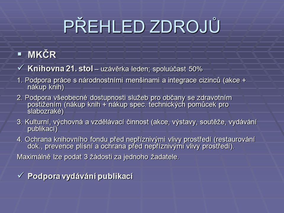 PŘEHLED ZDROJŮ  MKČR Odbor regionální a národnostní kultury Odbor regionální a národnostní kultury www.mkcr.czwww.mkcr.cz / kulturní dědictví / regionální a národnostní kultura / granty a programy / výběrová řízení pro rok 2008 www.mkcr.cz 1.