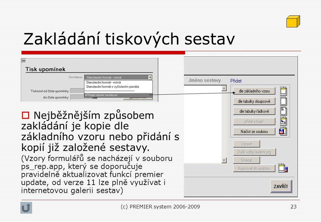 (c) PREMIER system 2006-200923 Zakládání tiskových sestav  Nejběžnějším způsobem zakládání je kopie dle základního vzoru nebo přidání s kopií již zal