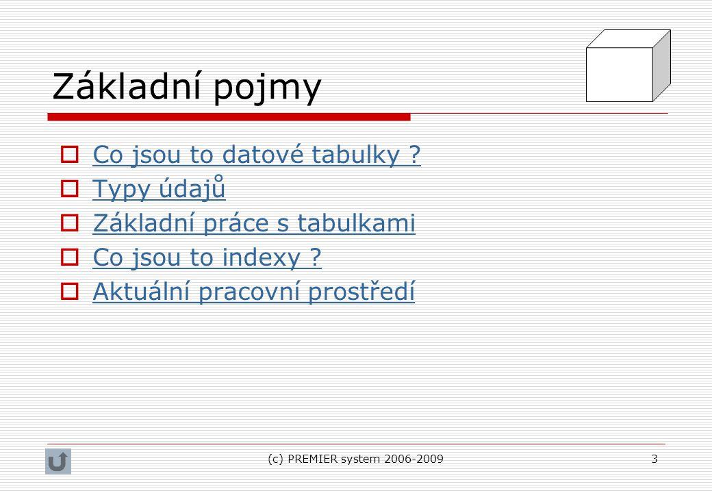 (c) PREMIER system 2006-20093 Základní pojmy  Co jsou to datové tabulky ? Co jsou to datové tabulky ?  Typy údajů Typy údajů  Základní práce s tabu