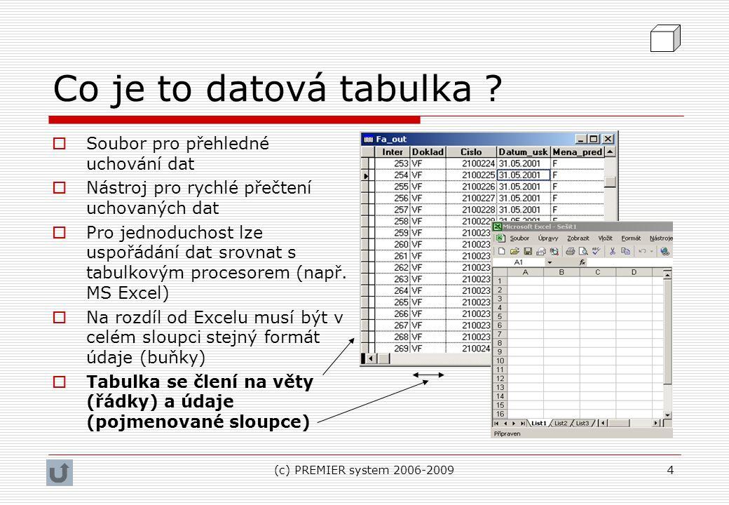 (c) PREMIER system 2006-20094 Co je to datová tabulka ?  Soubor pro přehledné uchování dat  Nástroj pro rychlé přečtení uchovaných dat  Pro jednodu