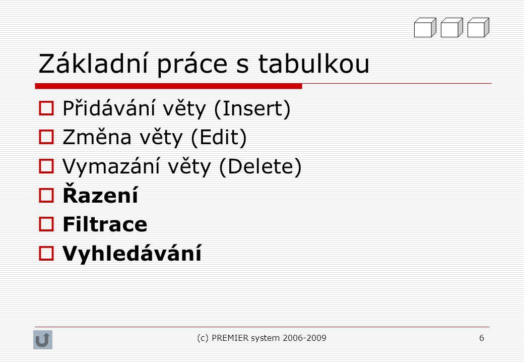 (c) PREMIER system 2006-20096 Základní práce s tabulkou  Přidávání věty (Insert)  Změna věty (Edit)  Vymazání věty (Delete)  Řazení  Filtrace  V