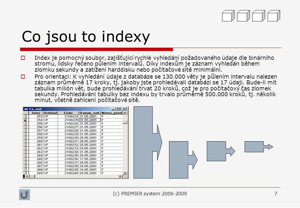 (c) PREMIER system 2006-20098 Aktuální pracovní prostředí  Pracovní prostředí je souhrn otevřených: a)Tabulek b)Pomocných kurzorů (dočasných pomocných tabulek) c)Paměťových proměnných  Pro výstup na tiskových formulář je klíčová aktuálně vybraná tabulka.