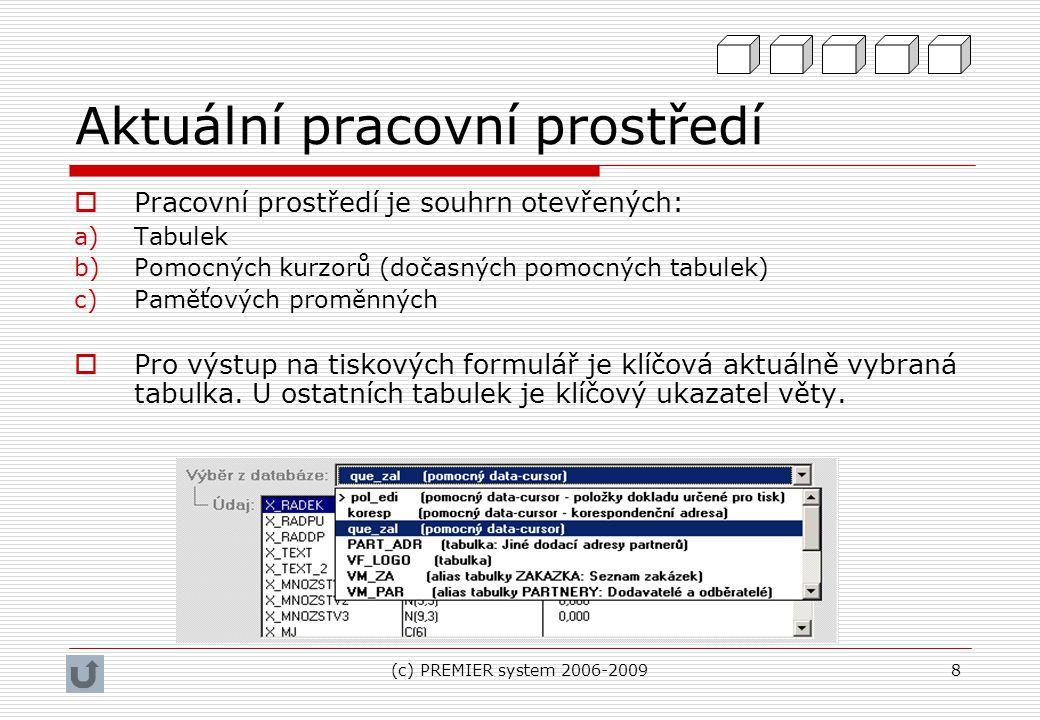 (c) PREMIER system 2006-20098 Aktuální pracovní prostředí  Pracovní prostředí je souhrn otevřených: a)Tabulek b)Pomocných kurzorů (dočasných pomocnýc