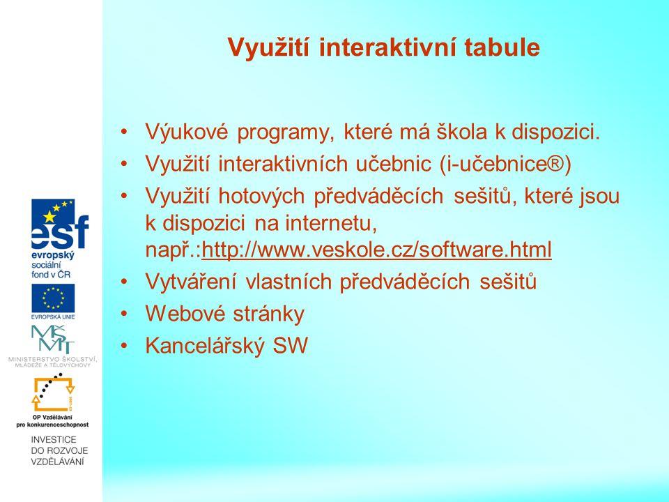 Využití interaktivní tabule Výukové programy, které má škola k dispozici.