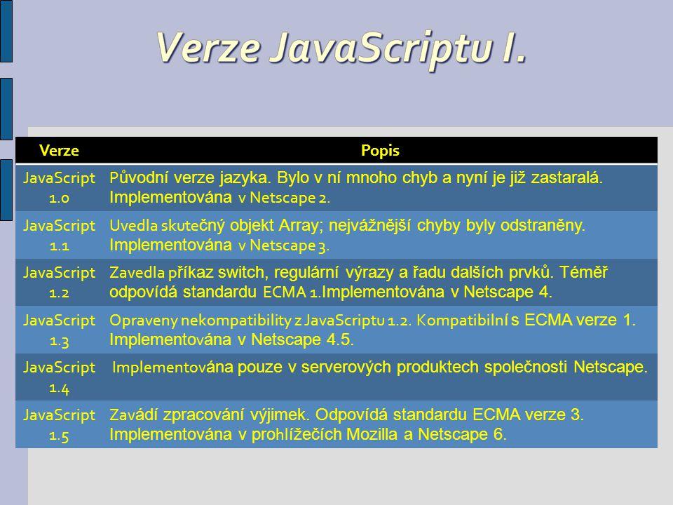 VerzePopis ECMA 1 Standardizuje základní prvky JavaScriptu 1.1 a přidává nov é prvky.
