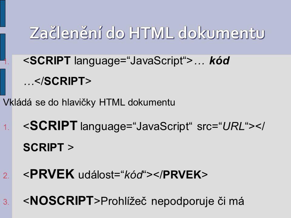 1. … kód … Vkládá se do hlavičky HTML dokumentu 1. 2. 3. Prohlížeč nepodporuje či má zakázané spouštění JavaScriptu