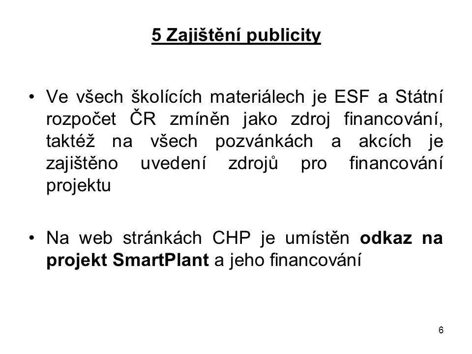 6 5 Zajištění publicity Ve všech školících materiálech je ESF a Státní rozpočet ČR zmíněn jako zdroj financování, taktéž na všech pozvánkách a akcích je zajištěno uvedení zdrojů pro financování projektu Na web stránkách CHP je umístěn odkaz na projekt SmartPlant a jeho financování