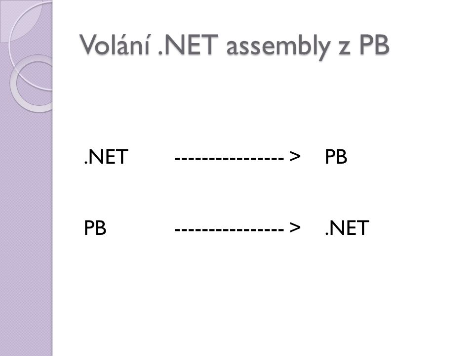 Volání.NET assembly z PB.NET---------------- > PB PB ---------------- >.NET