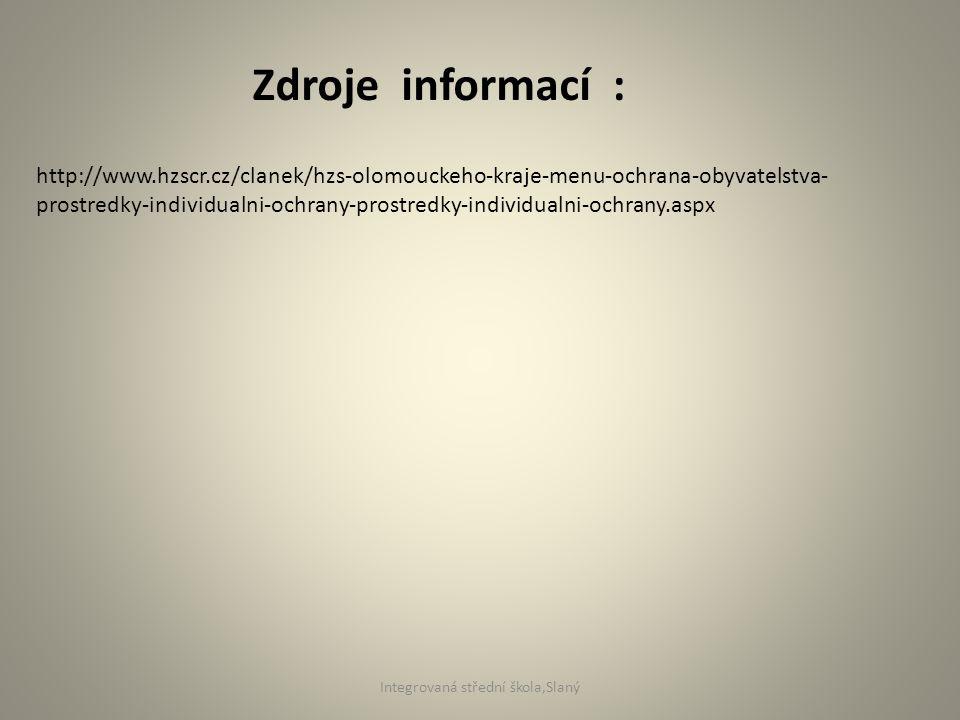Zdroje informací : http://www.hzscr.cz/clanek/hzs-olomouckeho-kraje-menu-ochrana-obyvatelstva- prostredky-individualni-ochrany-prostredky-individualni