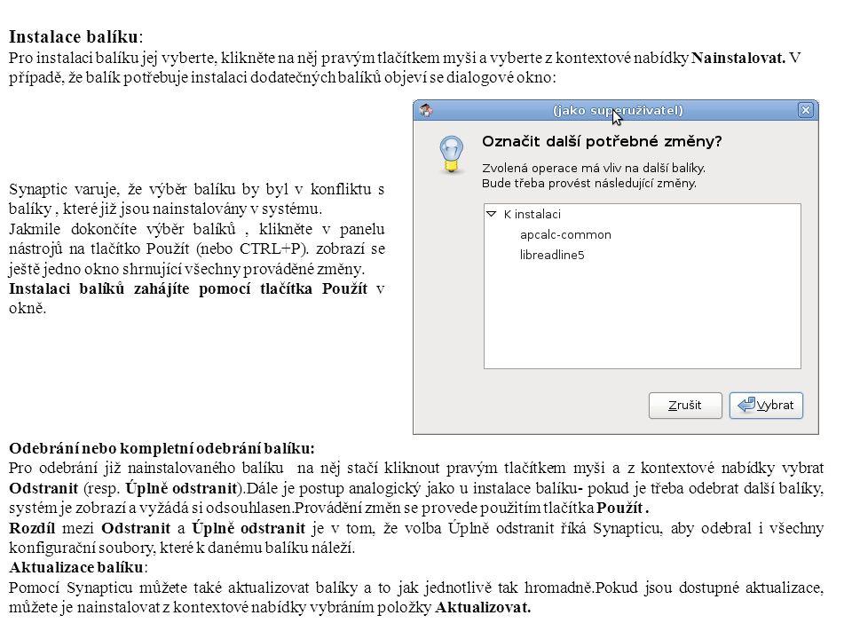 Instalace balíku: Pro instalaci balíku jej vyberte, klikněte na něj pravým tlačítkem myši a vyberte z kontextové nabídky Nainstalovat.
