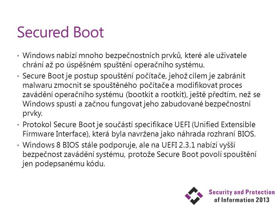 Secured Boot Windows nabízí mnoho bezpečnostních prvků, které ale uživatele chrání až po úspěšném spuštění operačního systému. Secure Boot je postup s